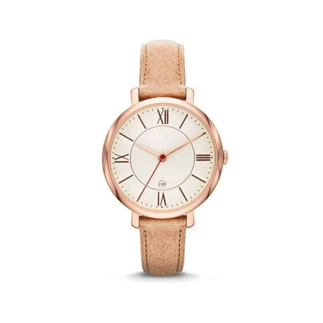 rose gold case yellow leather strap white dial vintage watch