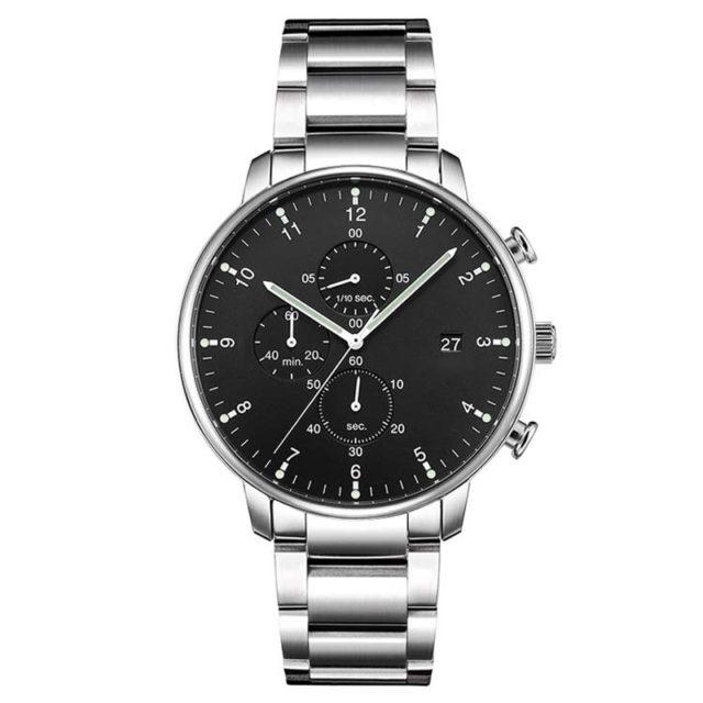 all silver metal bracelet chronograph black dial watch
