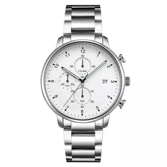 all silver metal bracelet chronograph watch