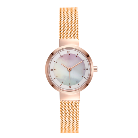rose gold case gold steel mesh strap pearl dial watch