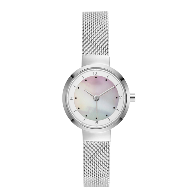 all silver steel mesh strap pearl dial lady watch