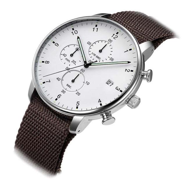 silver case NATO strap chronograph watch