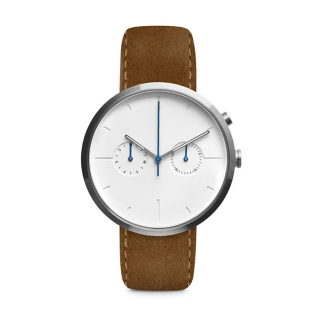 silver case leahter strap lugless chronograph watch