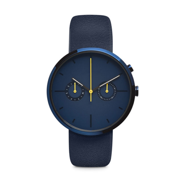 all blue leather strap yellow hands watch