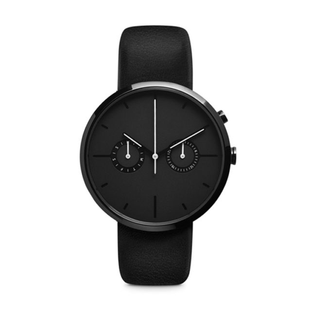 all black leather strap chronograph watch