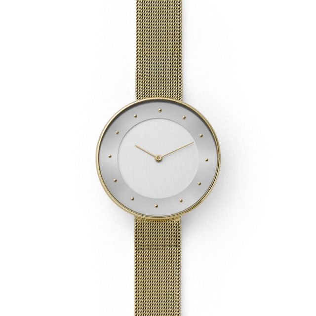 all gold steel mesh strap white dial lugless watch