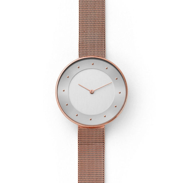 all rose gold steel mesh strap lugless watch