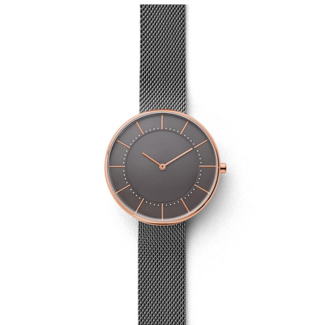 rose gold case silver mesh strap lugless watch