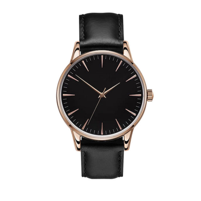 rose gold case black leahter strap black dial watch