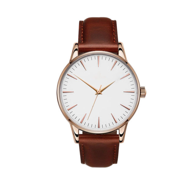 rose gold case brown leather strap white dial classic watch