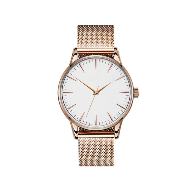 all rose gold steel mesh strap white dial classic watch