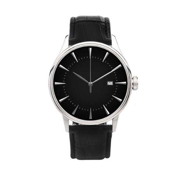 silver case crocodile black leahter strap black dial watch