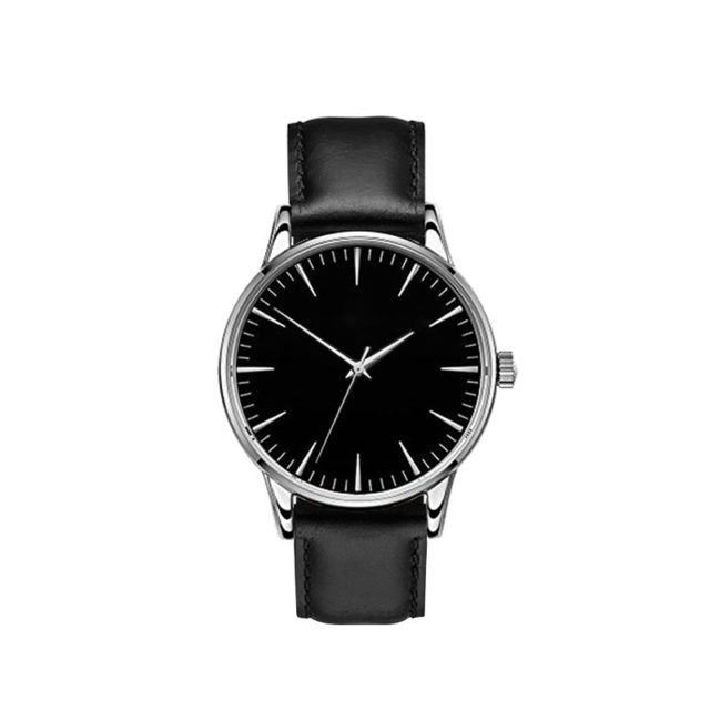 silver case black leather strap black dial classic watch