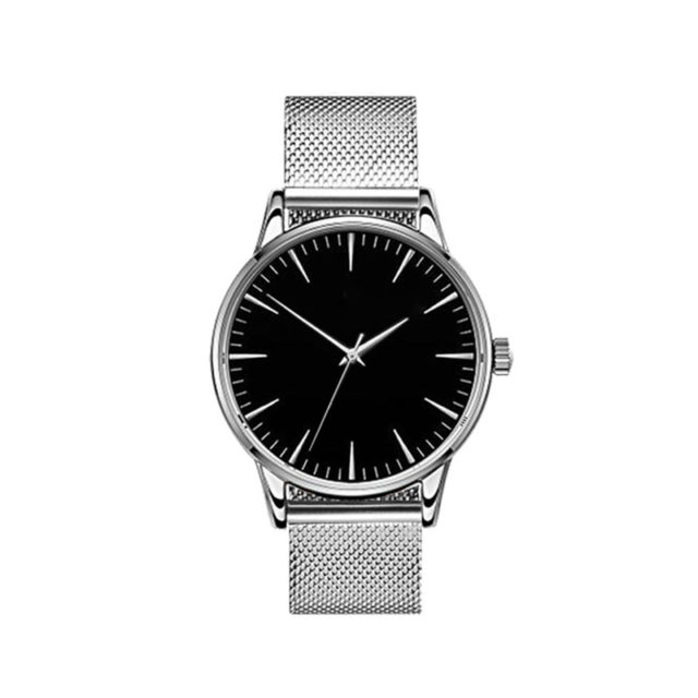 all silver steel mesh strap black dial classic watch