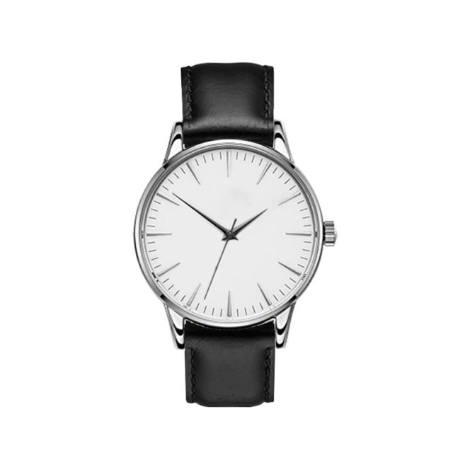 silver case black leahter strap white dial classic watch