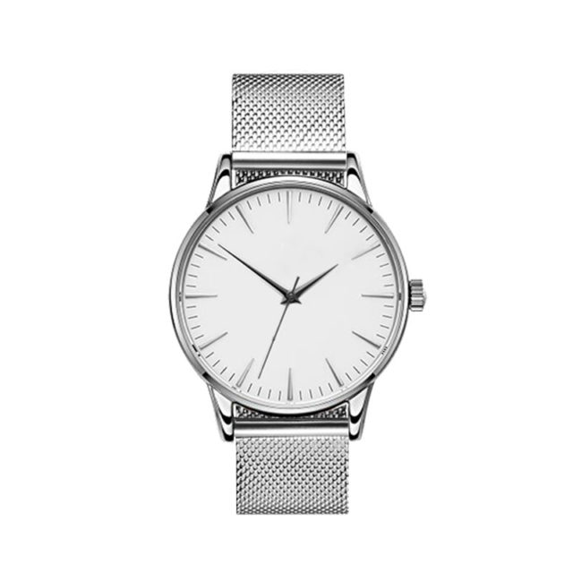 all silver steel mesh strap white dial classic watch