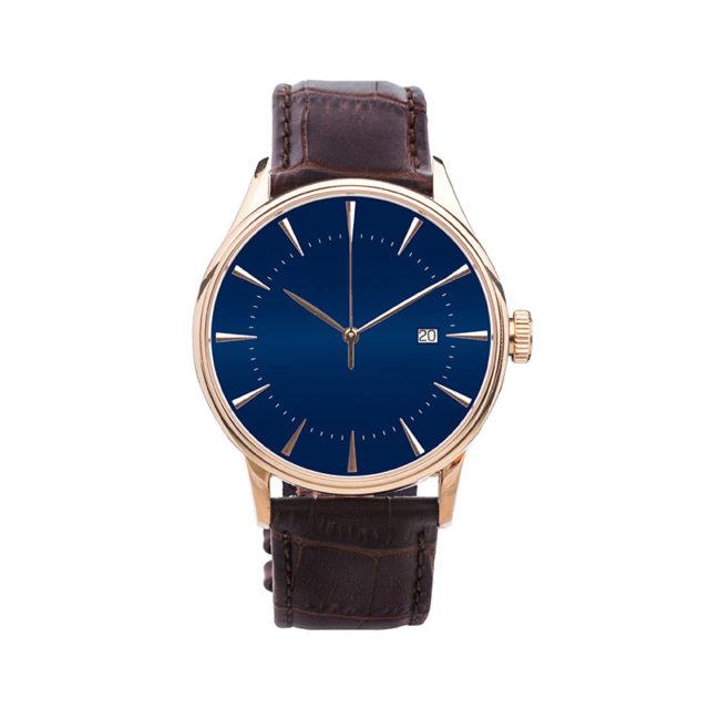 rose gold case crocodile brown leahter strap blue dial watch
