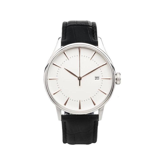 silver case crocodile black leahter strap white dial watch