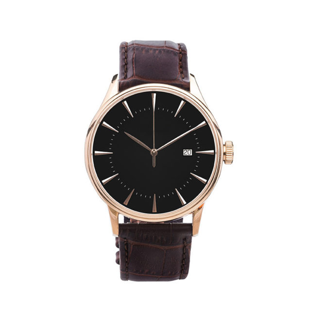 rose gold case crocodile brown leahter strap watch