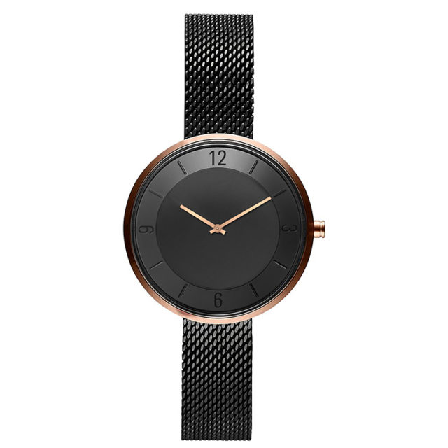 rose gold case black steel mesh strap black watch