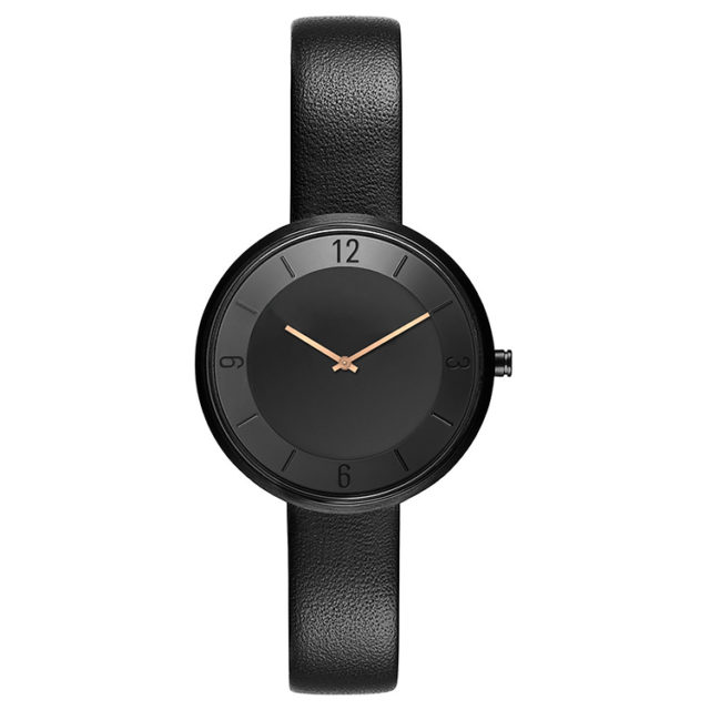 all black leather strap rose gold hands watch