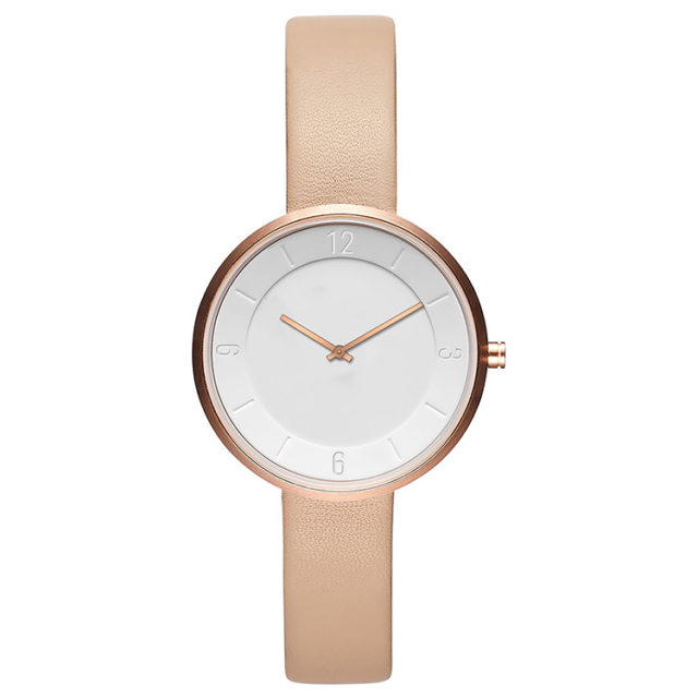 rose gold case yellow leather strap white watch