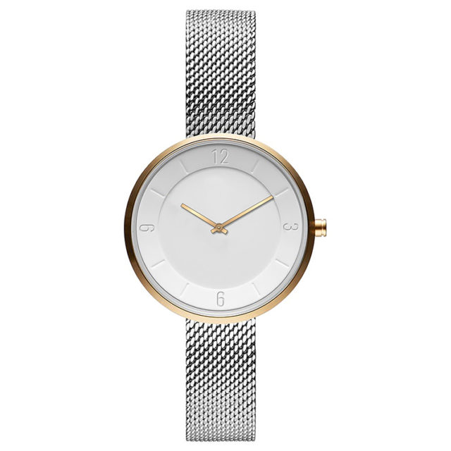 gold case silver steel mesh strap white watch