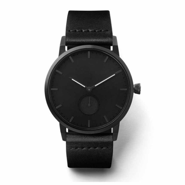 all black leather strap luminous hands watch