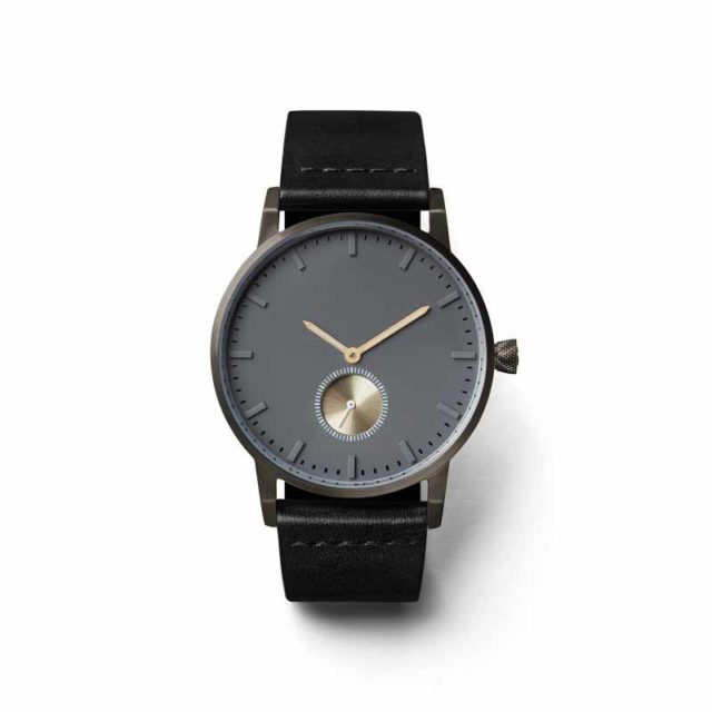 all black leather strap classic men's watch