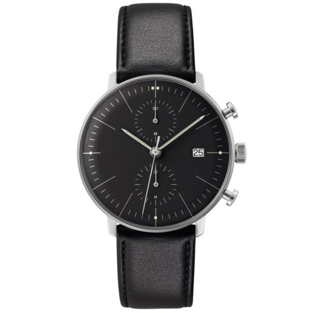 silver case black leather strap chronograph big face watch