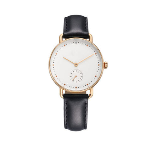 rose gold case black leather strap watch