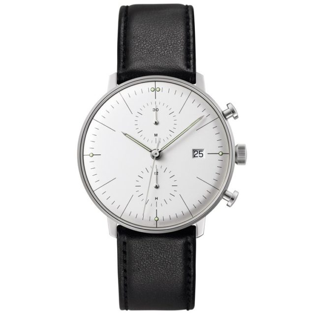 silver case black leather strap chronograph mens watch