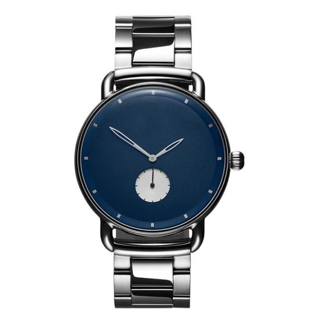 all silver metal bracelet sea blue face watch