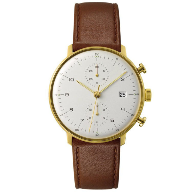 gold case brown leather strap chronograph big face watch
