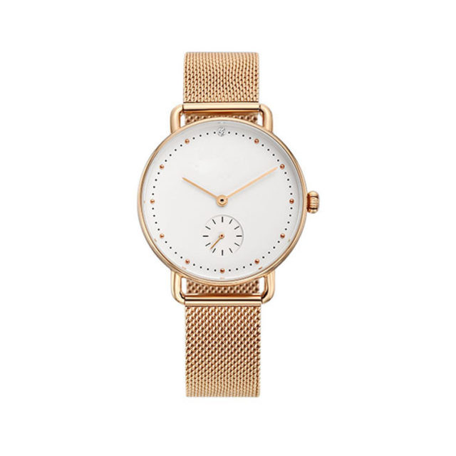 all rose gold steel mesh strap white dial watch
