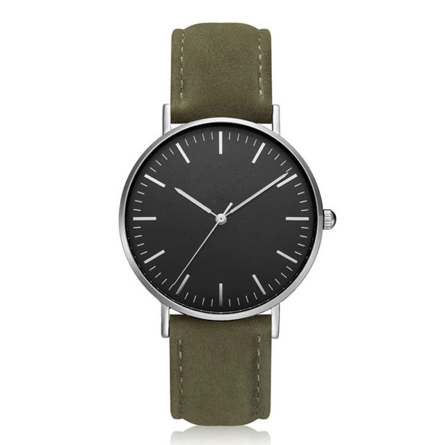 silver case green leather strap minimalist watch