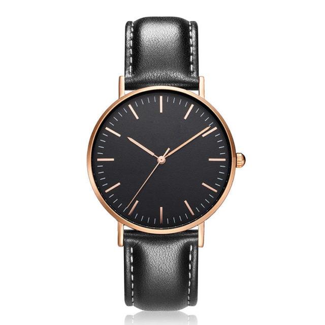 rose gold case black leather strap minimalist watch