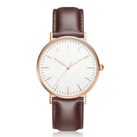 rose gold case brown leather strap minimalist watch