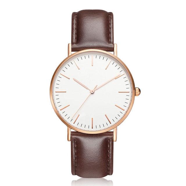 rose gold case brown leather strap minimalist watch