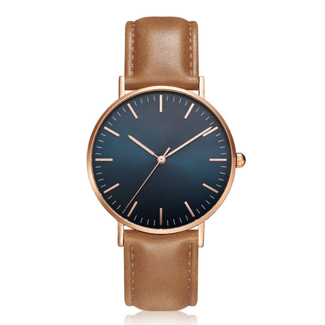 rose gold case yellow leather strap minimalist watch