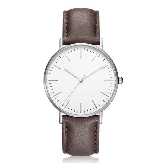 silver case deep brown leather strap minimalist watch