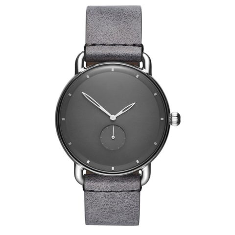 gun metal case grey leather strap black face watch