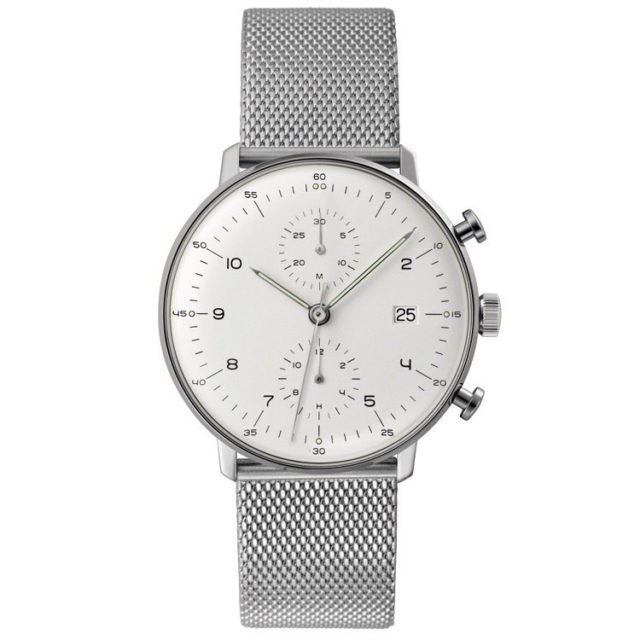all silver steel mesh strap big face watch