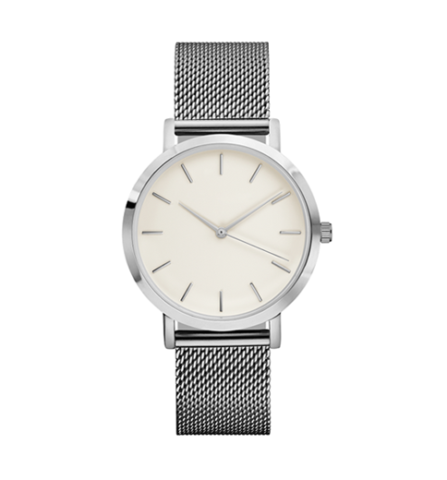 all silver stainless steel mesh strap eggshell face stylish watch