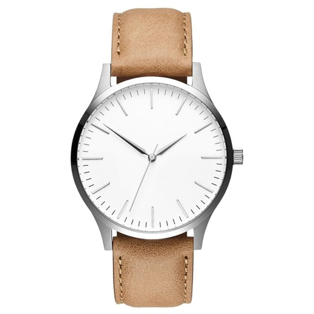 silver case tan leather strap big face watch