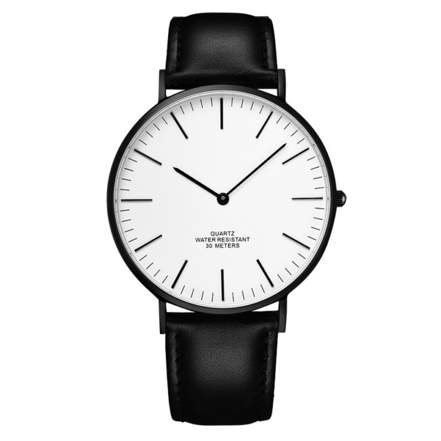 all black leather strap white dial slim watch