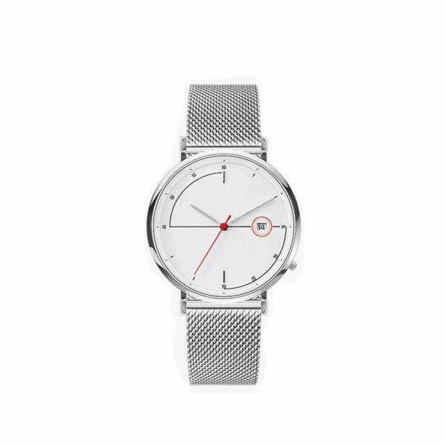 silver case steel mesh strap minimalist red second hands watch