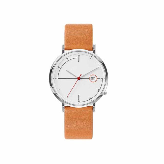 silver case tan leather strap minimalist watch