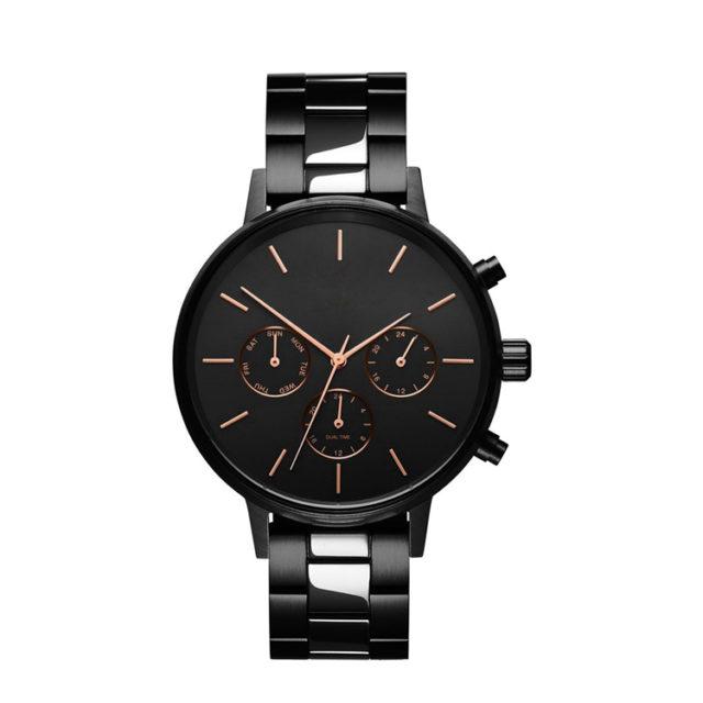 all black steel bracelet rose gold hands watch