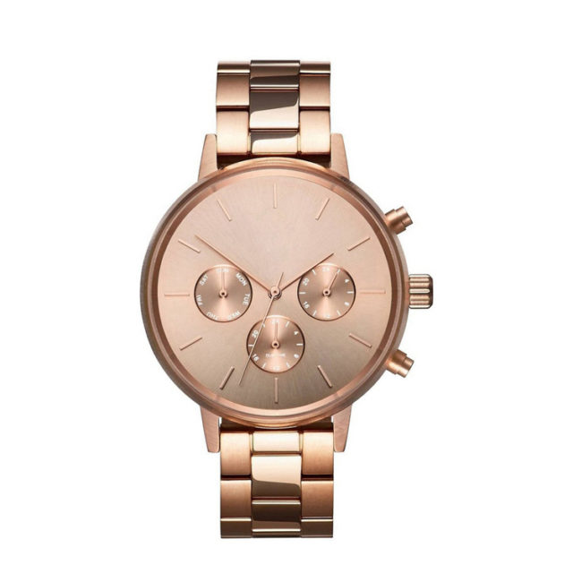 all rose gold steel bracelet lady chronograph watch